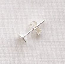 Sterling Silver 5mm Flat Pad - 1 Pair